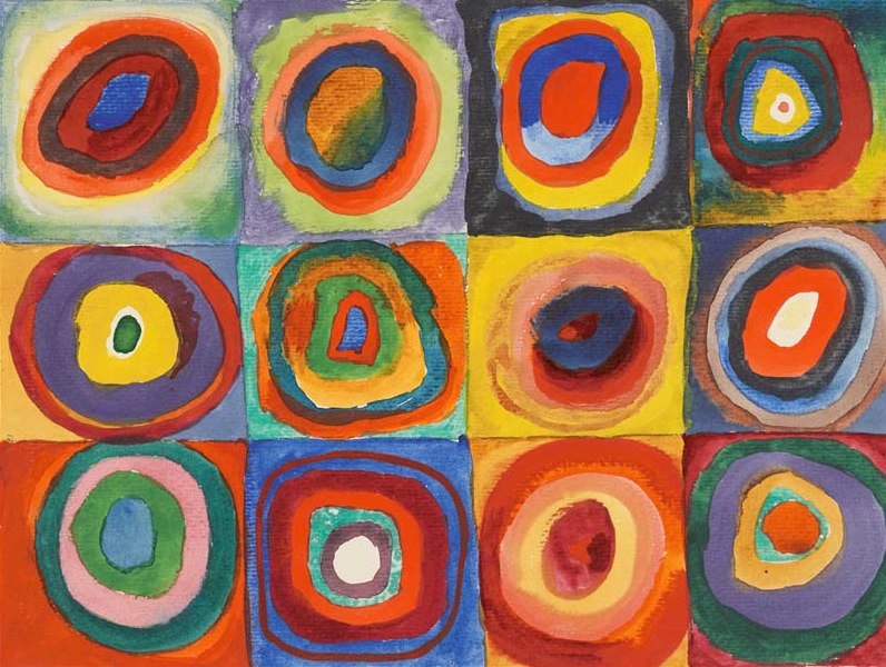 Vassily Kandinsky, 1913, Color Study, Squares with Concentric Circles
